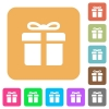 Gift box rounded square flat icons - Gift box icons on rounded square vivid color backgrounds.