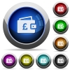 Pound wallet round glossy buttons - Pound wallet icons in round glossy buttons with steel frames