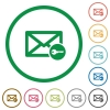 Secure mail flat icons with outlines - Secure mail flat color icons in round outlines on white background
