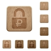 Locked Rubles wooden buttons - Locked Rubles on carved wooden button styles