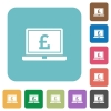 Laptop with Pound sign rounded square flat icons - Laptop with Pound sign white flat icons on color rounded square backgrounds