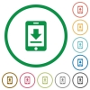 Mobile download flat icons with outlines - Mobile download flat color icons in round outlines on white background