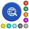 Web search beveled buttons - Web search round color beveled buttons with smooth surfaces and flat white icons
