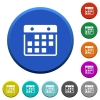 Hanging calendar beveled buttons - Hanging calendar round color beveled buttons with smooth surfaces and flat white icons