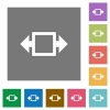 Width tool square flat icons - Width tool flat icons on simple color square backgrounds