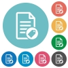 Tagging document flat round icons - Tagging document flat white icons on round color backgrounds