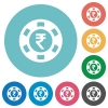 Indian Rupee casino chip flat round icons - Indian Rupee casino chip flat white icons on round color backgrounds