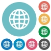Globe flat round icons - Globe flat white icons on round color backgrounds