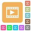 Play movie rounded square flat icons - Play movie icons on rounded square vivid color backgrounds.