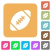 Rugby ball rounded square flat icons - Rugby ball icons on rounded square vivid color backgrounds.