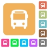 Bus rounded square flat icons - Bus icons on rounded square vivid color backgrounds.