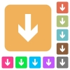 Down arrow rounded square flat icons - Down arrow icons on rounded square vivid color backgrounds.
