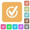 Checked data rounded square flat icons - Checked data icons on rounded square vivid color backgrounds.