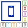Cellphone flat framed icons - Cellphone flat color icons in square frames on white background