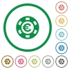 Euro casino chip flat icons with outlines - Euro casino chip flat color icons in round outlines on white background