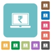 Laptop with Rupee sign rounded square flat icons - Laptop with Rupee sign white flat icons on color rounded square backgrounds