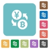 Yen Bitcoin exchange rounded square flat icons - Yen Bitcoin exchange white flat icons on color rounded square backgrounds