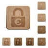 Locked euros wooden buttons - Locked euros on carved wooden button styles