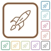 Launched rocket simple icons - Launched rocket simple icons in color rounded square frames on white background