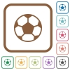 Soccer ball simple icons - Soccer ball simple icons in color rounded square frames on white background