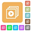 Play files rounded square flat icons - Play files icons on rounded square vivid color backgrounds.