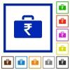 Indian Rupee bag flat framed icons - Indian Rupee bag flat color icons in square frames on white background