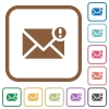 Important message simple icons - Important message simple icons in color rounded square frames on white background