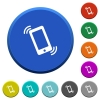 Ringing phone beveled buttons - Ringing phone round color beveled buttons with smooth surfaces and flat white icons