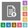 Voice document square flat icons - Voice document flat icons on simple color square backgrounds