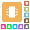 Integrated circuit rounded square flat icons - Integrated circuit icons on rounded square vivid color backgrounds.