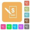 Cheque signing rounded square flat icons - Cheque signing icons on rounded square vivid color backgrounds.