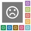 Sad emoticon square flat icons - Sad emoticon flat icons on simple color square backgrounds