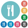 Cutlery flat round icons - Cutlery flat white icons on round color backgrounds