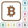 Bitcoin sign simple icons - Bitcoin sign simple icons in color rounded square frames on white background
