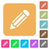 Pencil rounded square flat icons - Pencil icons on rounded square vivid color backgrounds.