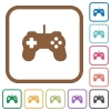 Game controller simple icons - Game controller simple icons in color rounded square frames on white background