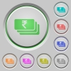 Indian Rupee banknotes push buttons - Indian Rupee banknotes color icons on sunk push buttons