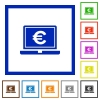 Laptop with Euro sign flat framed icons - Laptop with Euro sign flat color icons in square frames on white background