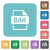 BAK file format white flat icons on color rounded square backgrounds - BAK file format rounded square flat icons