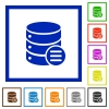 Database options flat color icons in square frames on white background - Database options flat framed icons
