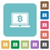 Laptop with Bitcoin sign rounded square flat icons - Laptop with Bitcoin sign white flat icons on color rounded square backgrounds