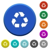 Recycling beveled buttons - Recycling round color beveled buttons with smooth surfaces and flat white icons