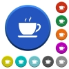 Cup of coffee beveled buttons - Cup of coffee round color beveled buttons with smooth surfaces and flat white icons