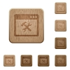 Application tools wooden buttons - Application tools on rounded square carved wooden button styles