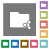 Share folder square flat icons - Share folder flat icons on simple color square backgrounds