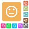 Neutral emoticon rounded square flat icons - Neutral emoticon icons on rounded square vivid color backgrounds.