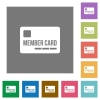 Member card square flat icons - Member card flat icons on simple color square backgrounds