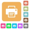 Printer rounded square flat icons - Printer icons on rounded square vivid color backgrounds.