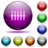 Graphical equalizer glass sphere buttons - Graphical equalizer icons in color glass sphere buttons with shadows