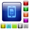 Mobile simcard verified color square buttons - Mobile simcard verified icons in rounded square color glossy button set